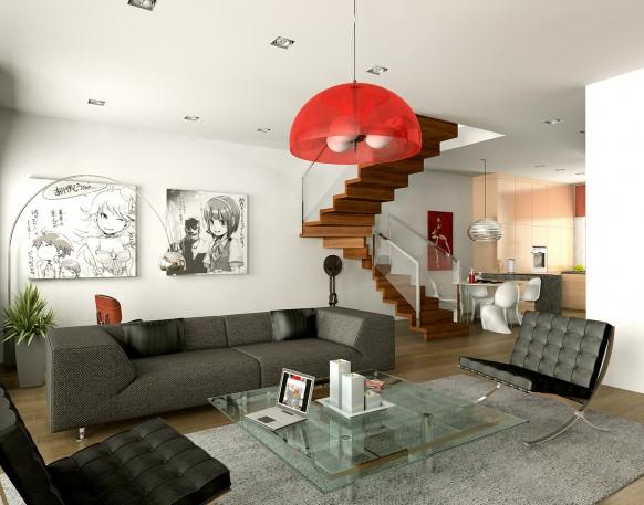 Серый диван с мелким рисунком