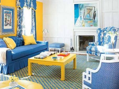 Синяя мебель в комбинированной схеме