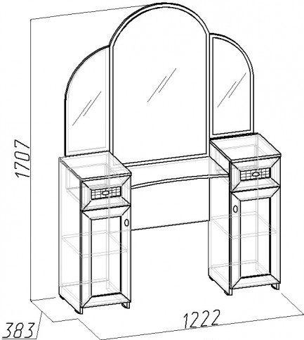 Схема туалетного столика с двумя тумбами