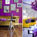 Сочетание яркого фиолетового и желтого цветов