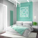 Спальня в стиле модерн в белых и мятных оттенках