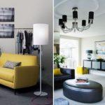 Желтая мебель на фоне серых стен