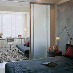 Зонирование спальни и гостиной может
