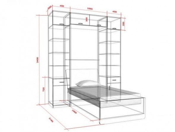 Чертеж кровати-шкафа