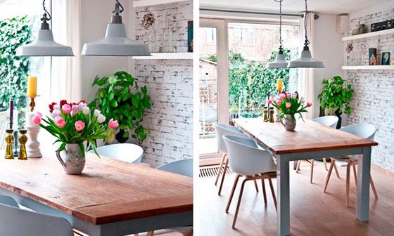 Декоративная кирпичная стена на кухне