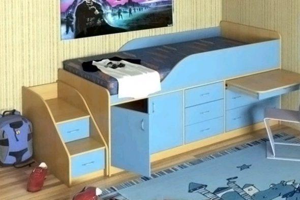 Детская кровать с комодом для хранения