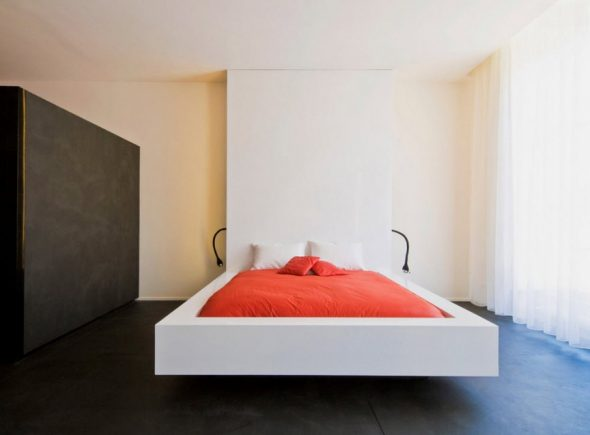 Парящая кровать в спальне в стиле минимализм