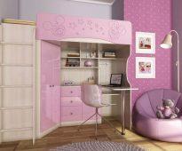 Кровать-чердак Бэмби для девочки
