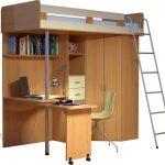 Кровать-чердак с рабочей зоной и приставной лестницей