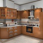 Кухня со встроенным холодильником