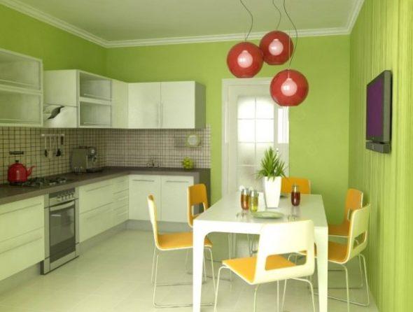 Кухня в зеленых тонах с яркими акцентами