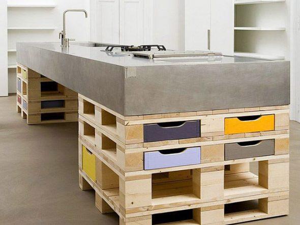 Мебель из поддонов для кухни