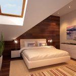 Парящая кровать вписалась идеально в нестандартную комнату