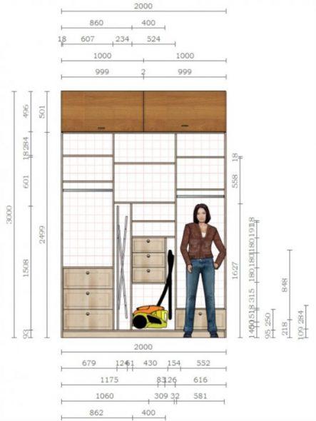 Пример наполнения шкафа-купе