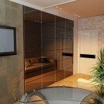 Шкаф для залы полностью спрятанный в стену