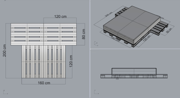 Схема сборки кровати из паллет