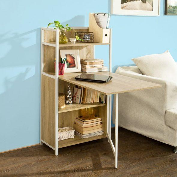 Складной стол, встроенный в стеллаж