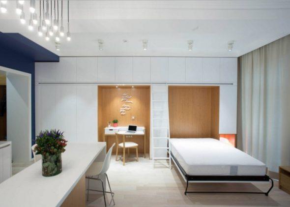 Светлый уютный лофт стиль для маленькой квартиры
