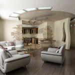 Размещение мебели в необычной гостиной