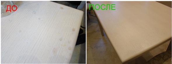 Частичная реставрация стола белый дуб