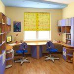 Детская в фиолетовых тонах с двумя рабочими местами у окна