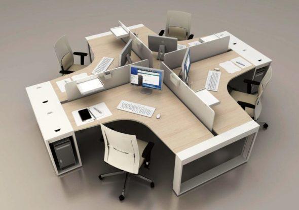 Расстановка офисных угловых столов