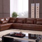 Кожаный диван коричневого цвета для интерьера в японском стиле