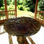 Маленький круглый столик для дачи