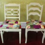Оригинальные подушки на стулья в технике печворк