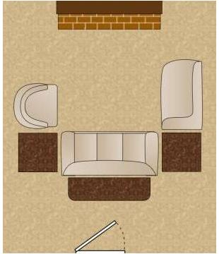 П-образная планировка гостиной комнаты