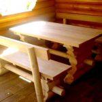 Пример прямоугольного стола из натурального бруса