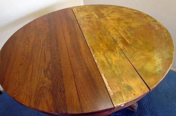 Реставрация  стола при помощи шлифовки