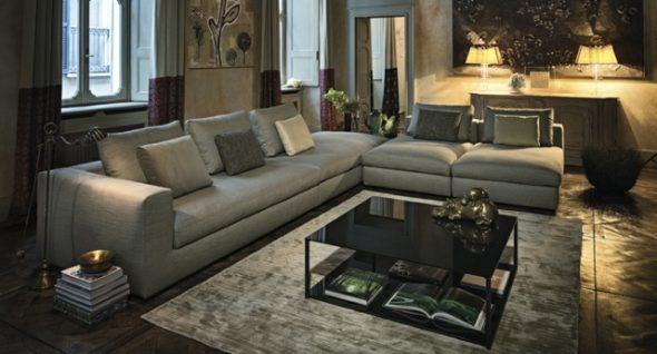 Серый угловой диван