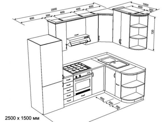 Стандартный угловой набор мебели
