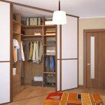 Угловая гардеробная с дверями купе