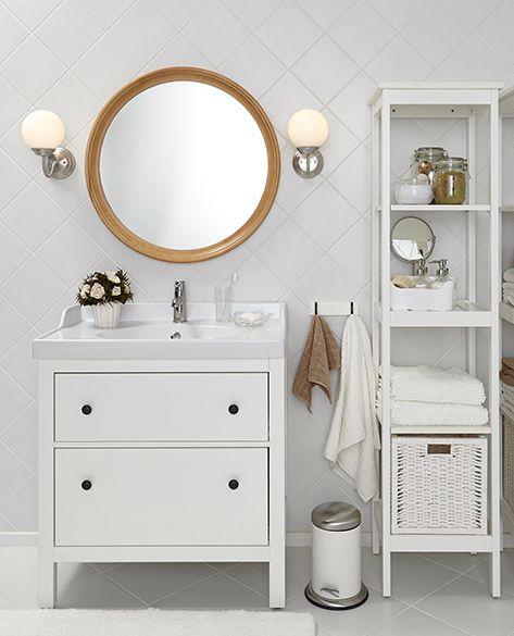 Белая мебель от ИКЕА для ванной комнаты