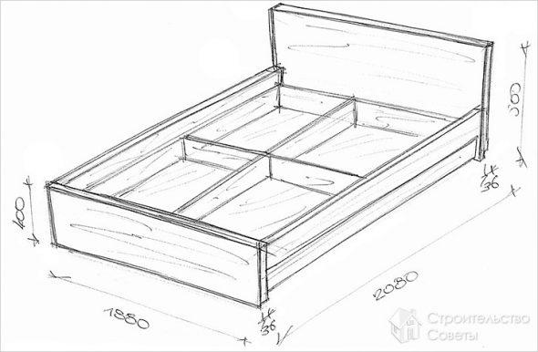 Чертеж выдвижной кровати