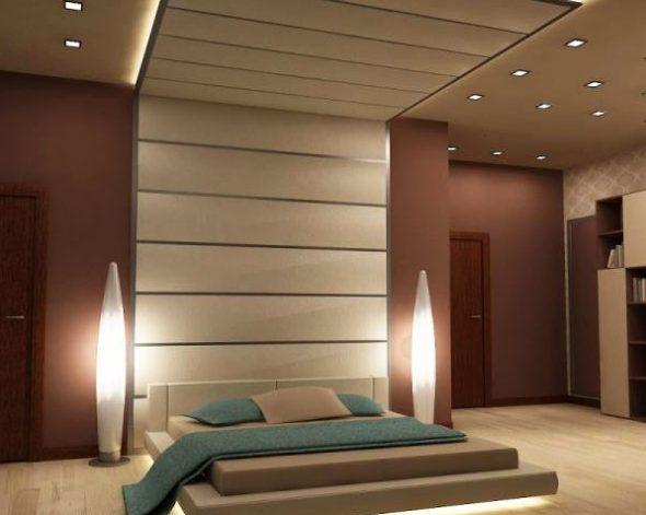 Использование подсветки для кровати-подиум