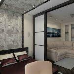 Комната с дверями-купе для разделение на спальную и гостиную зону