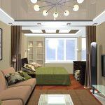 Кровать и диван в гостиной