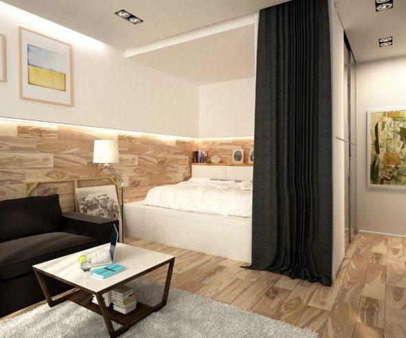 Кровать, зрительно отделенная шкафом