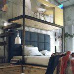 Очень необычное оформление спальни в стиле лофт