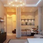 Размещение кровати в однокомнатной квартире в одном стиле с гостиной
