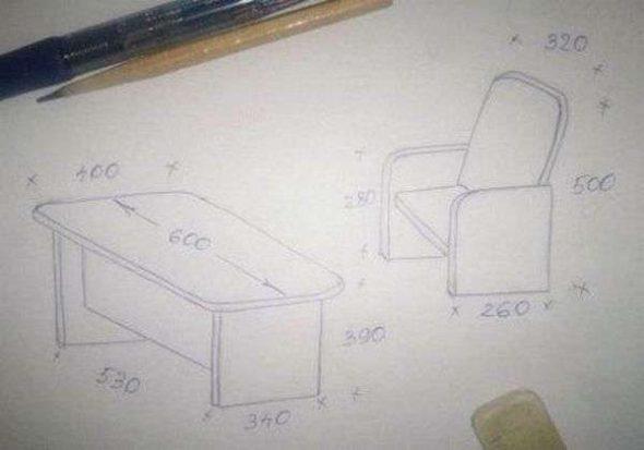 Схема небольшого стола