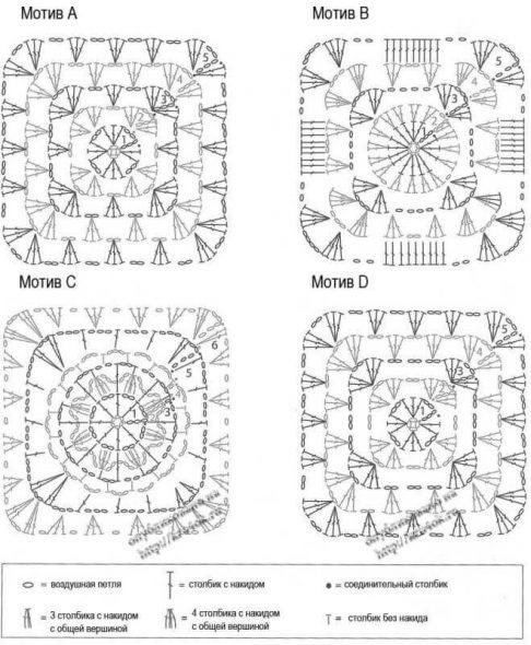 Схемы вязаных квадратов
