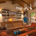 Стеклянное подвесное кресло с голубыми подушками