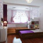 Уголок для девочки с рабочим и спальным местом