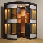Конструкция углового шкафа с подсветкой