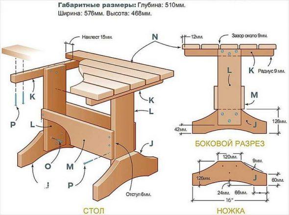 Базовый чертеж стола
