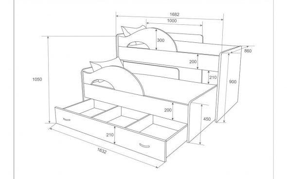 Чертеж двухэтажной выдвижной кровати